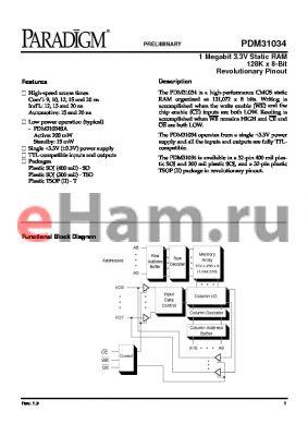 PDM31034SA12SOTY datasheet - 1 megabit 3.3V static RAM 128K x 8-bit revolutionary pinout