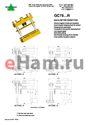 GC79BNCE20RS datasheet - Ins.Lenght: 95mm; Bolt Lenght: 120mm; bar clamp for hockey punks