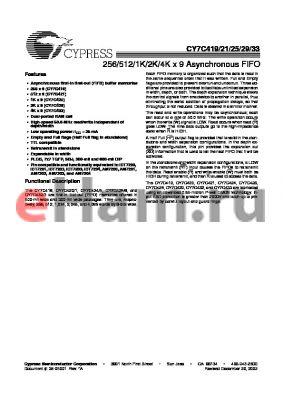 CY7C429 datasheet - 2K x 9 asynchronous FIFO, 65 ns
