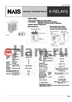 K2EB-12V-1 datasheet - K-relay. Uniquely designed relay. 2 form C. Coil voltage 12 V DC. Plug-in and solder. Ordinary sensitive relay. Amber sealed type.