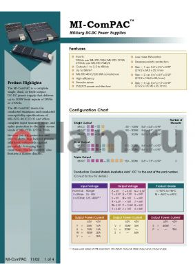 MI-RC223X-XXXX datasheet - InputV:28V; outputV:15V; 150-300W; 30-..A; complete triple output DC-DC power military supply