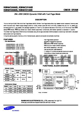 KM48C2100BKL-7 datasheet - 2M x 8bit CMOS dynamic RAM with fast page mode, 5V, 70ns