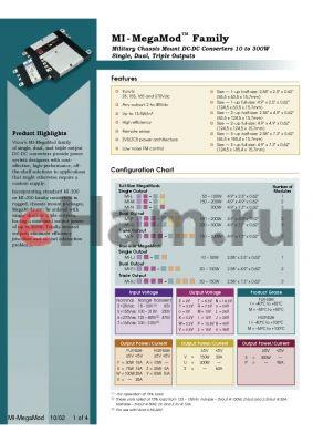 MI-N7Y-XX datasheet - InputV:165V; outputV:3.3V; 300W; single output DC-DC converter provide power system designers with cost-effective, high performance, off-the-shelf solutions