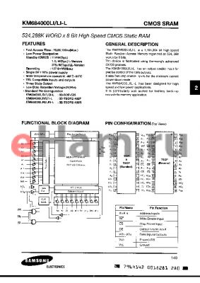 KM684000LRI-10 datasheet - 512Kx8 bit CMOS static RAM, 100ns