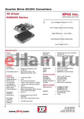 KHQ04048S1V2BL datasheet - Quarter brick DC/DC converter. Baseplate/negative logic. Output power 48W. Output voltage 1.2V. Output current maximum 40A. Input current 1.00A.