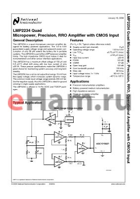 LMP2234BMTE datasheet - Quad Micropower, Precision, RRO, Operational Amplifier with CMOS Input from the PowerWise^ Family